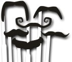 Set of 6 moustaches on clear sticks