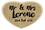 Wedding sign with hessian