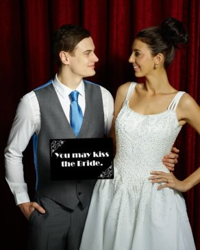 Using Silent movie board You may kiss the bride