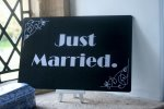 Just married sillent movie board prop