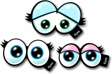 Cartoon Eyes Set of 3 Photo booth props
