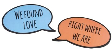 Pair of romantic speech bubbles