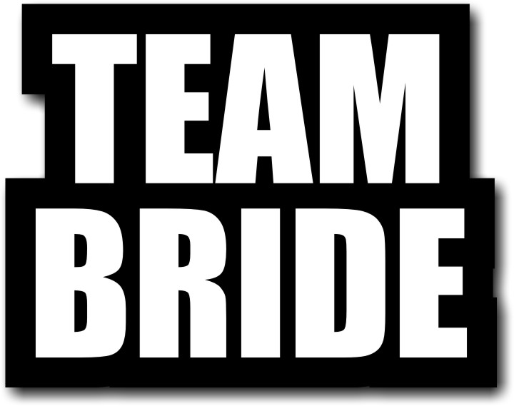 Large Team Bride Photo Booth Prop With A Handle On The Back