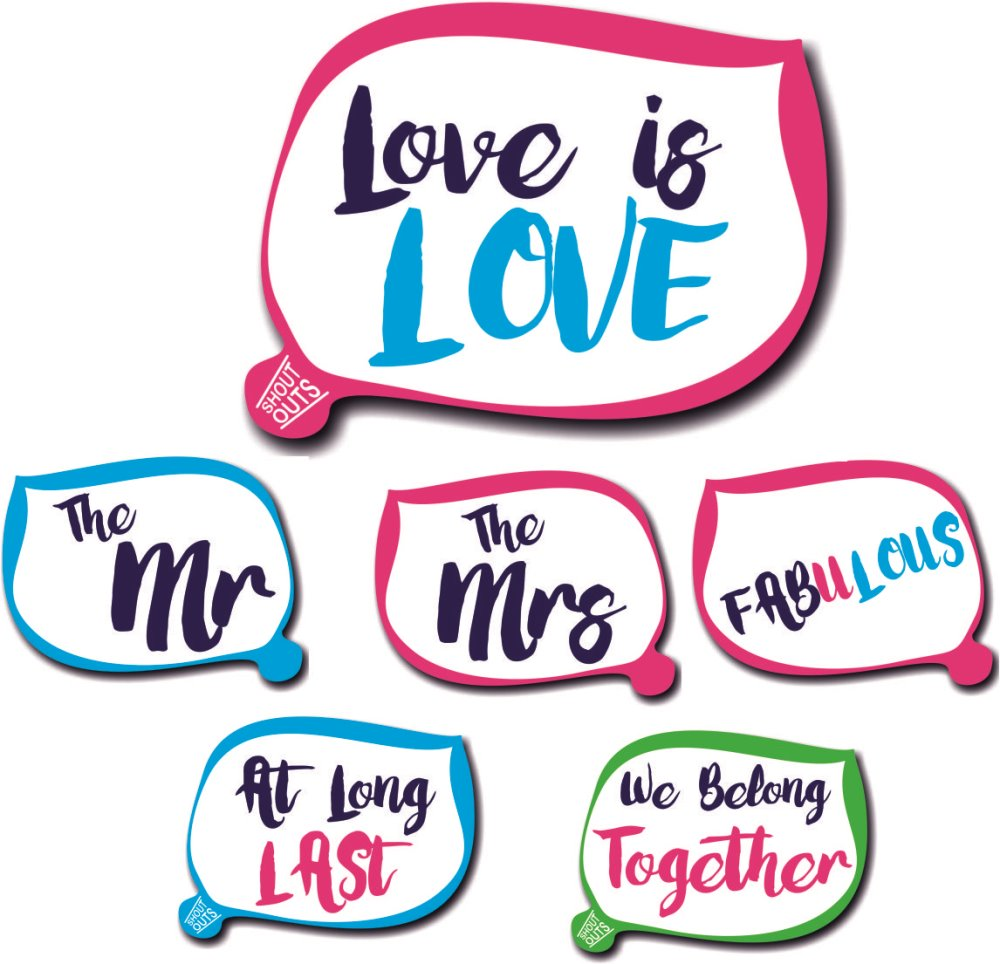 Lgbt Wedding Photo Booth Props Shout Outs Double Sided Quality Signs