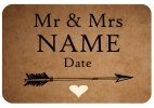 Customisable Mr & Mrs Name, Brown Paper Style