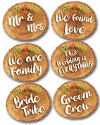 Set of six photo realistic wood slice wedding photo booth props