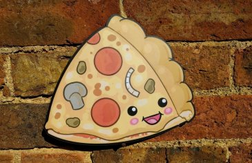 Kawaii Pizza photo booth prop with lots of toppings