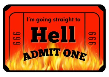 Ticket to Hell Photo Booth Sign