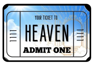 Ticket to Heaven photo booth prop sign