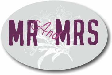 Romantic MR and MRS wedding sign for photo booth