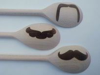 Engraved Wooden Spoon Moustache Props