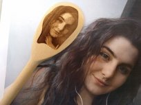 Selfie on a wooden spoon with original photo